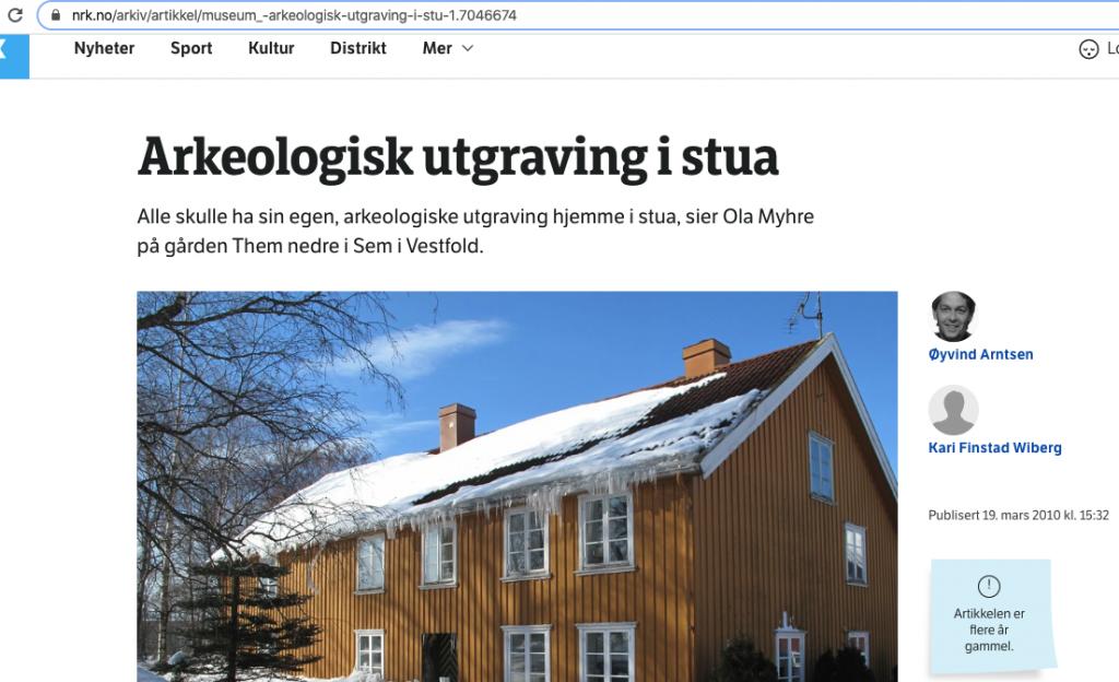 Screenshot av NRK arkiv - om arkeologisk utgraving