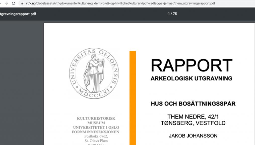 Bilde av forside på arkeologisk rapport om Gamlestua, 2010