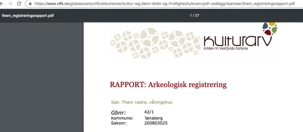 Skjermbilde av Rapport: Arkeologisk registrering - se fullstendig lenke øverst på bilde